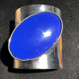 Jewelry - LARGE SILVER TONE CUFF BRACELET W/ OVAL BLUE STONE